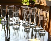 Groomsman Pilsner Glasses Personalized with Name on each - Set of 8