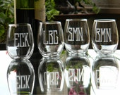 Set of 6, Stemless Wine Glasses Customized with Monogram on each. Great for Bridal or Bachelorette Party