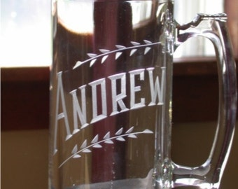 Gift For Men. Set of 2 Personalized Hand Engraved 25oz Beer Mugs