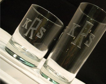 Hiball and DOF Tumbler Beverage Glasses Engraved with Monogram Set of 8
