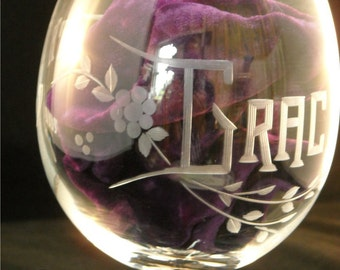 Custom Happy Birthday Crystal Wine Glass Personalized with name and any year