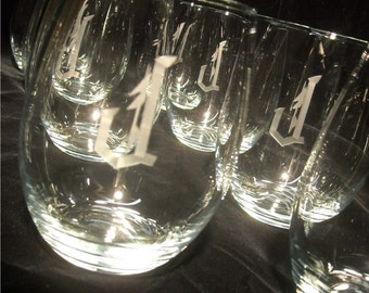 Stemless Wine Glasses Engraved with initial(s), Set of 8