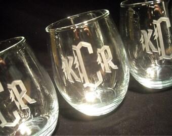 Monogrammed Stemless Wine Glasses, Set of 4