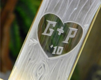 Carved Tree Trunk Glass Vase with Heart and Initials