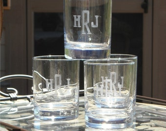 Double Old Fashion Beverage Glasses Engraved with Monogram, Set of 6