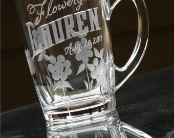 Flowergirl Keepsake Mug with Custom Engraved Name and Date