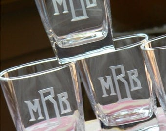 Sterling Square On the Rocks Bar Glasses Engraved with Monogram, set of 8, 10 or 12