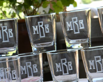 Sterling Square On the Rocks Bar Glasses Engraved with Monogram, set of 6