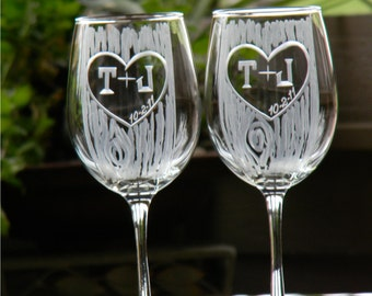 Rustic Carved Tree Trunk Wine Glasses with Heart and Initials-Set of 2