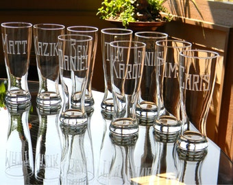 Engraved Bachelor Party Pilsner Glasses Personalized with Name on each - Set of 8