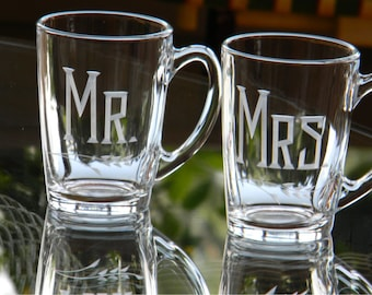 Personalized MR and MRS Hand Engraved Green Tea / Coffee Mug Wedding Gift, Set of 2