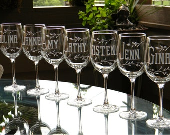 Set of 6 - Bridesmaid Wine Glasses Personalized with Name on each