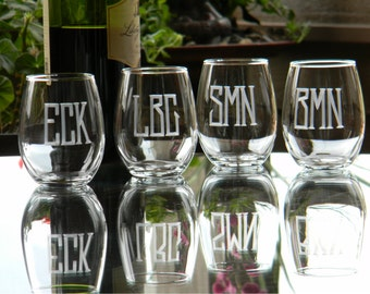 Set of 6, Stemless Wine Glasses Customized with Monogram for each Wine Lover in your Bridal Party