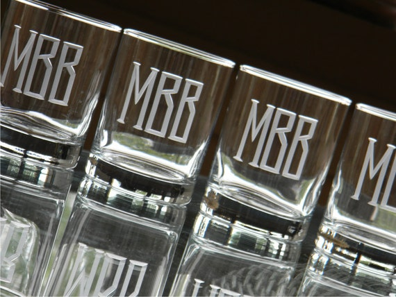 Double Old Fashion Beverage Glasses Engraved with Monogram-Set of 6