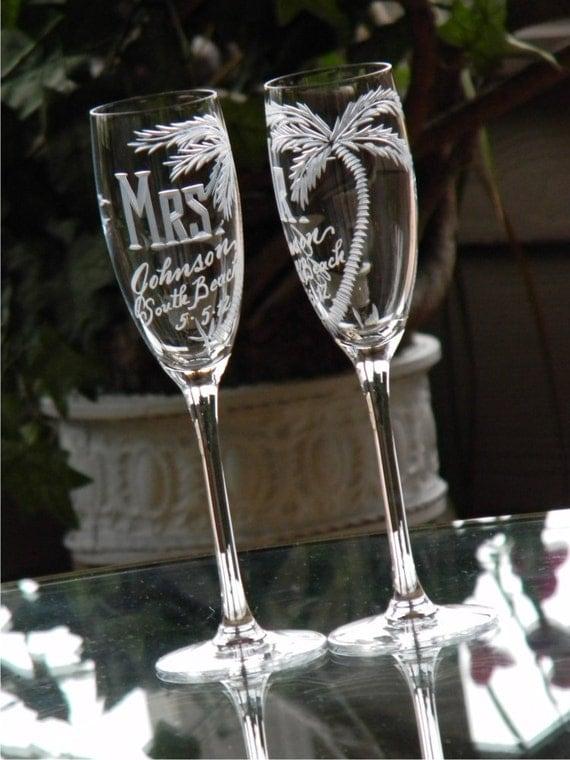 Items Similar To Beach Theme Destination Wedding Champagne