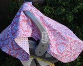 Baby Car Seat Cover, Girls Pink White Damask and Dots