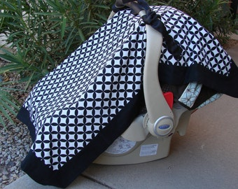 Baby Car Seat Canopy - Baby Car Seat Cover - Black Car Seat Canopy - White Car Seat Cover - Minky Car Seat Canopy - Baby Shower Gift