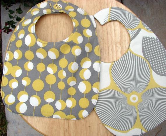 Baby Bib - Reversible Baby Bib - Grey Baby Bib - Yellow Baby Bib - Mod Floral Baby Bib - Baby Shower Gift - Drool Bib