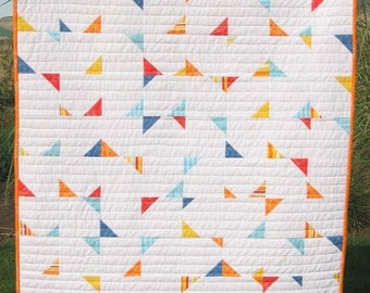 PDF PATTERN, Confetti Crib Baby Geometric Triangle Quilt or Wall Hanging