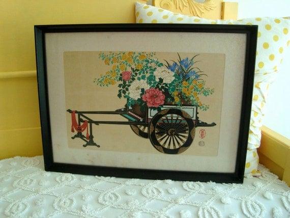 RESERVED Vintage Japanese Flower Cart Rickshaw Picture Wall Hanging Art Print Gorgeous Florals