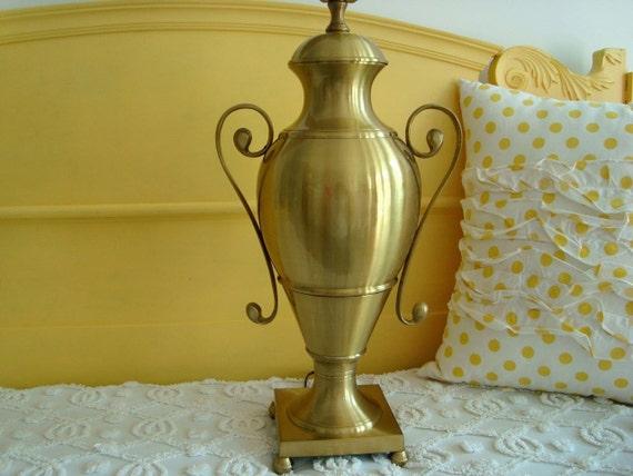 On SALE... Large Vintage Heavy Brass Urn Trophy Vase Pedestal Lamp
