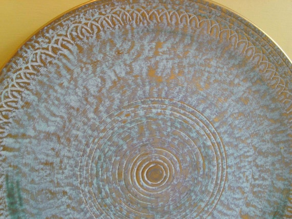 Reserved for Trish.... Vintage Hand Painted Antique Gold Stangl Pottery Platter