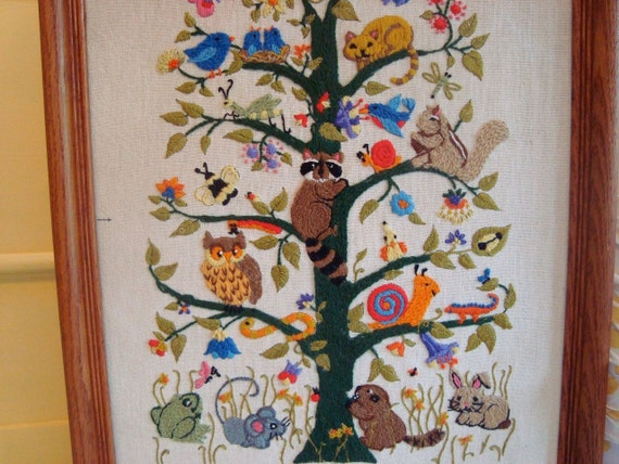 Large Vintage Framed Crewel Embroidery Tree Of Life Animal