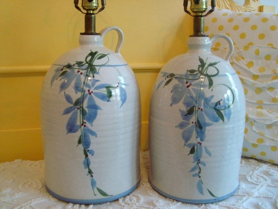 Pair of Vintage Ceramic Pottery Lamps