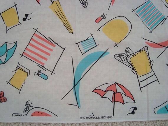 Whimsical Beach Print Fabric ReTrO Colors Umbrellas Beach Chairs Sunglasses L Hamricks, Inc. Over 3 Yards