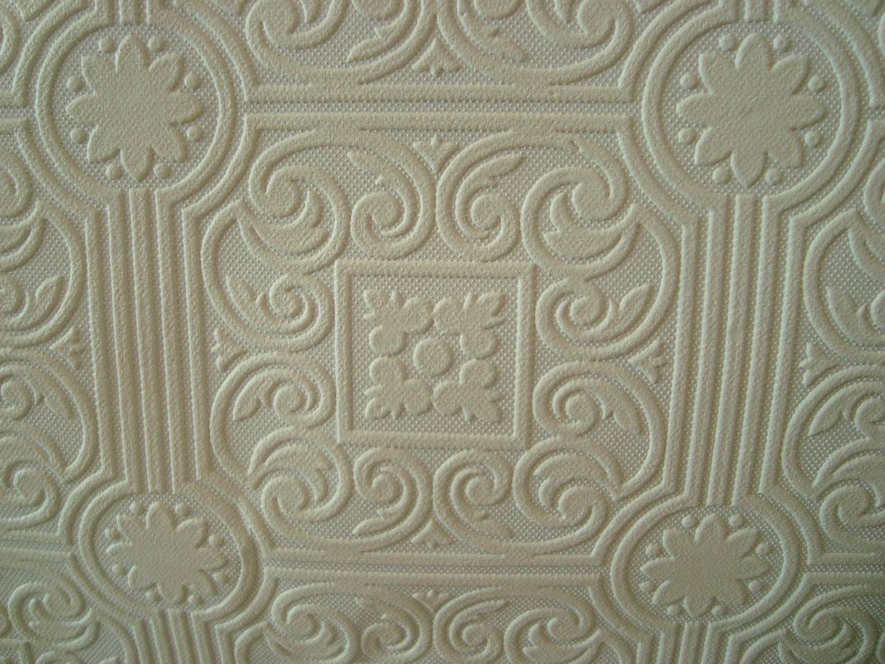 Roll of vintage textured paintable wallpaper raised medallion for Embossed wallpaper