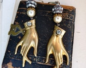 Ex Voto Vintage Assemblage Earrings, The Hands of Grace, by Lizbeth Clay