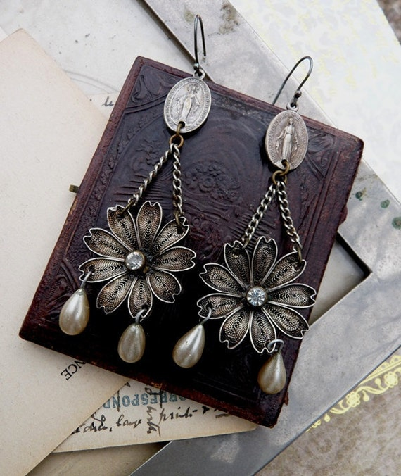 Vintage Assemblage Earrings, The Flower of Life, by RusticGypsyCreations