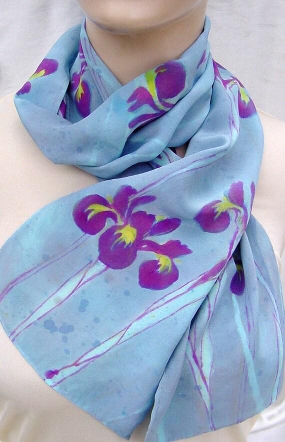 Hand dyed painted silk crepe scarf Rainy Iris