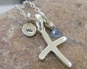sweet and simple sterling cross with faceted blue sapphire and hand stamped initial charm necklace