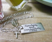 fearfully and wonderfully made handstamped sterling silver necklace
