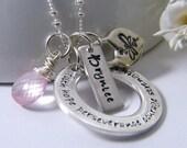 encouragement necklace sterling silver rose quartz sterling heart custom name tag