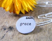 grace necklace sterling silver two sided word charm polished finish
