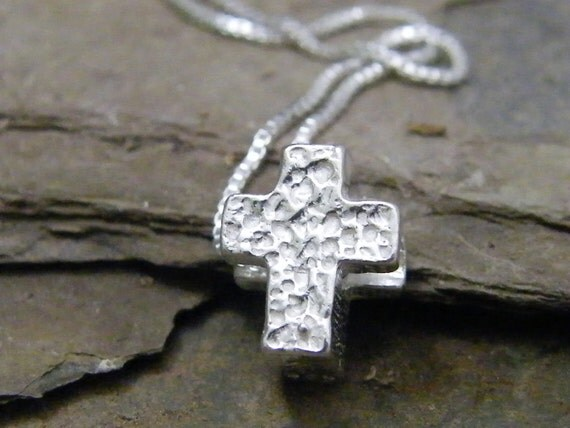 tiny cross sliding sterling silver hammered texture charm necklace