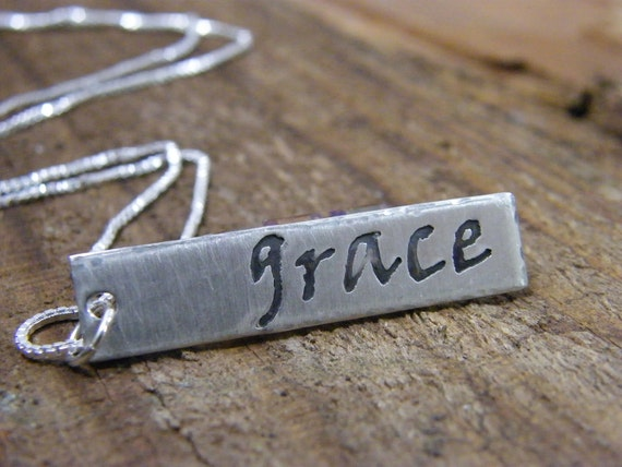 grace pendant hand stamped sterling silver necklace 22 inch chain