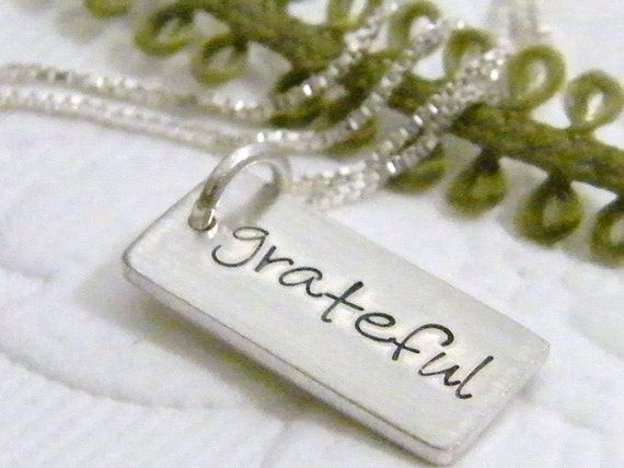 grateful hand stamped tiny dog tag sterling silver necklace matte finish