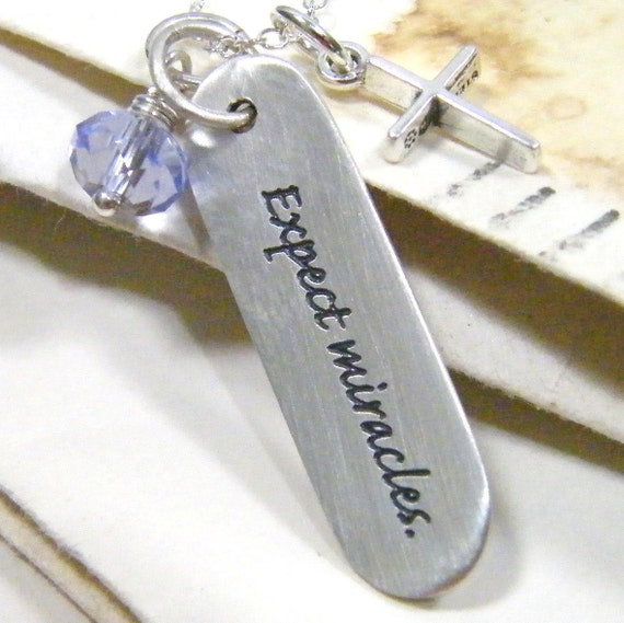 expect miracles printed sterling silver pendant necklace with swarovski crystal and cross