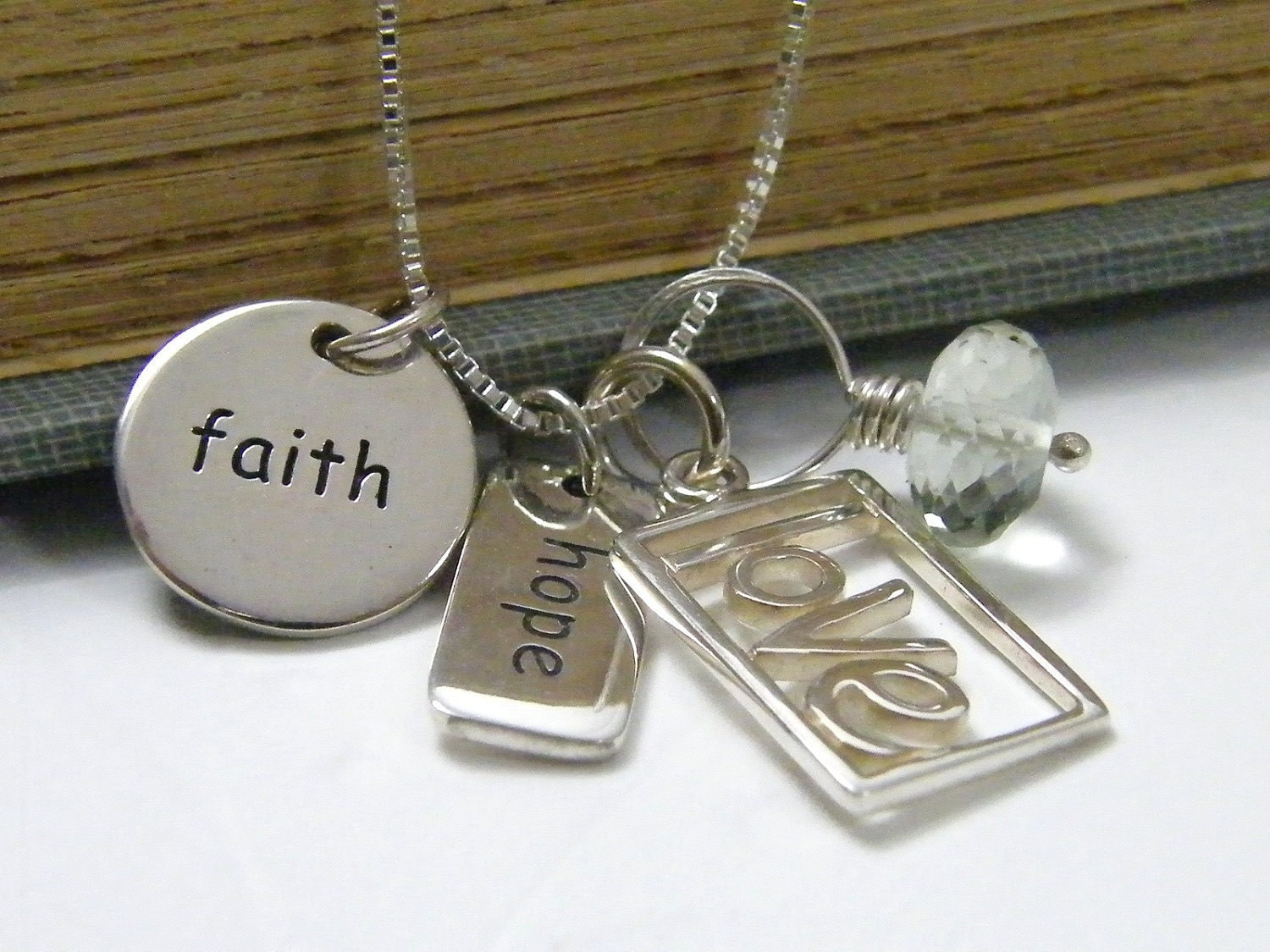 Faith hope love necklace sterling silver charms and faceted for Faith hope love jewelry