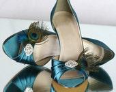 Wedding Shoe - Peacock Shoe, Teal Wedding Shoe, Peacock Feather Shoe, Wedding Heels, Peacock Wedding Theme, Bridal Shoe, Peacock Heel Shoe