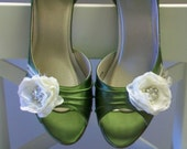 Handcrafted Wedding Shoes - Flower Crystal Pearls - Choose From Over 100 Colors - Bespoke Shoes - Bridal Shoes - Green Shoes - Custom Shoes
