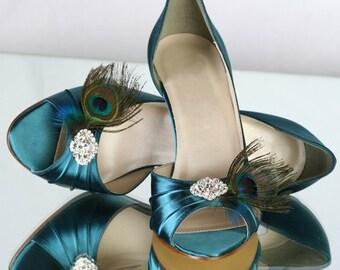 Wedding Shoes - Peacock - Great Gatsby Wedding - Peacock Wedding - Art Deco - Peacock Blue Shoes - Choose From Over 100 Colors - Parisxox