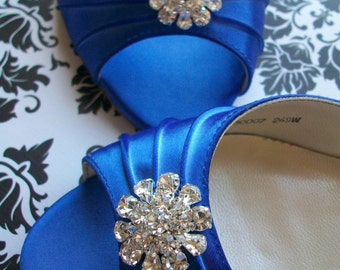 Blue Wedding Shoes - Peep Toes - Choose From Over 200 Shoe Colors - Dyeable Wedding Shoes - Short Heel - Choose Your Heel Size - Custom Shoe