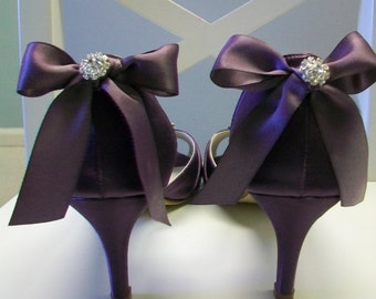 Purple Wedding Shoes - Purple Bows - Crystal - Peep Toe - Bridal Shoes - Dyeable Shoes - Choose From Over 200 Colors -  Choose Heel Height
