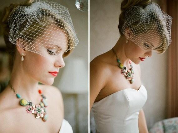 Wedding Veil - Ready To Ship - Swarovski Crystals - Bird Cage Veil- Choose From White Or Ivory - Short Wedding Veil Handmade By Parisxox
