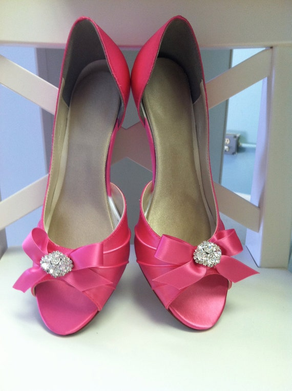 Wedding Shoes - Choose From Over 200 Shoe Colors -Peep Toe With Bow And Swarovski Crystal - Choose Your Heel Size - Pink Shoes - Parisxox