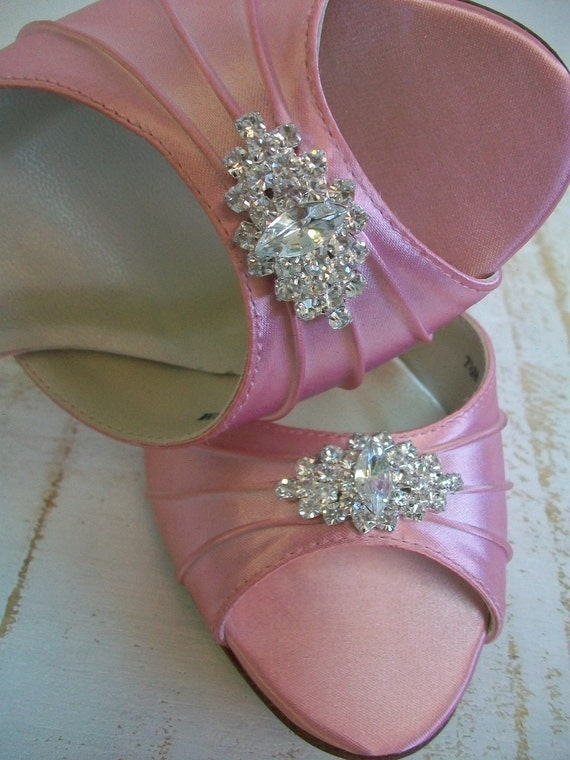 Wedding Shoes -  Pink - Crystals - Dyeable Shoe - Choose From Over 100 Colors - Bridal Shoes - Peep Toe - Choose Your Heel Height Shoe